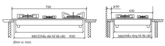 Bản vẽ kích thước bếp gas âm, cách làm mặt đã kê bếp