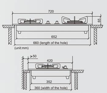Kích thước khoét đá bếp gas âm