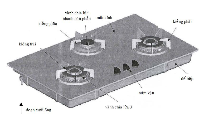 Bếp ga âm kính sang trọng cao cấp, kích thước khoét đã bếp ga