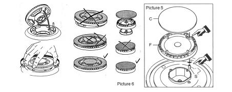 Bộ chia lửa phải đặt đúng theo hướng dẫn sử dụng bếp ga âm
