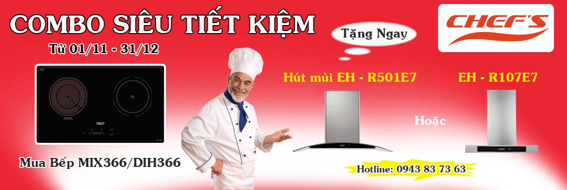 Khuyến mại bếp từ chefs tặng máy hút mùi tại bep365