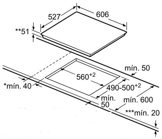 Bếp từ Bosch PID675DC1E bản vẽ kỹ thuật